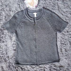 Chico's short sleeve zip up sweater EF